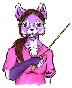 Violet vixen with a teacher's stick